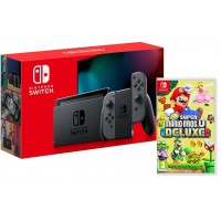 Nintendo Switch Grey + New Super Mario Bros. Deluxe Switch