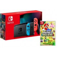 Nintendo Switch Neon + New Super Mario Bros. Deluxe Switch