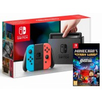 Nintendo Switch Neon Red/ Neon Blue + Minecraft Story Mode Complete Edition