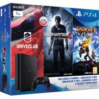 Playstation 4  Slim 1 TB (PS4) + 3 Játék (Driveclub, Uncharted 4, Ratchet and Clank)